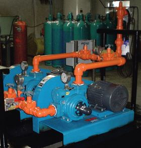 A Blackmer LGLD3E V-Belt sliding vane pump. Pumps like these delivered 21,614,160 lbs of ammonia to a chemical plant over six weeks of continuous operation