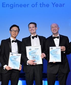 Winner of the PIA 2017 'Engineer of the Year' award Jamie Mills, Xylem Water Solutions (centre), celebrates his achievement with finalists Kao Koh, AESSEAL (left) and Mark Wright, Tomlinson Hall (right).