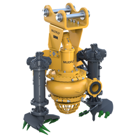 The Multiflo Mudflo can pump between 150–1,200m3/h, up to 82m head and combines the Warman MGS pump end, Multiflo CB32 hydraulic cutters and ESCO excavation teeth.