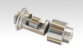 Figure 2. Typical design of a Neodymium-based magnetic coupling showing the inner drive, the stainless-steel seal sleeve and the outer drive.