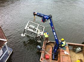 An in-river suction filter approved by the UK's Environment Agency for the protection of small fish and elvers.