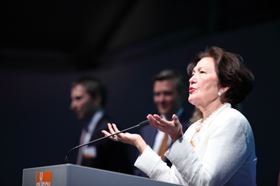 Ayhan Busch during her speech at the anniversary evening celebration