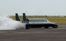 The three-ton steam-powered car 'Inspiration' has enough fuel, compressed air and water to run for three minutes.