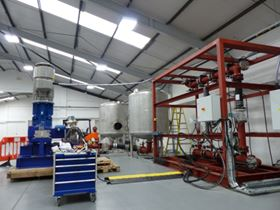 The new reciprocating plunger pump test rig at Ruhrpumpen in Lancing, UK.