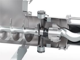 The NEMO BO/SO progressing cavity pump has a hopper and a coupling rod with feeding screw and force-feed chamber, which also houses the cutting unit.