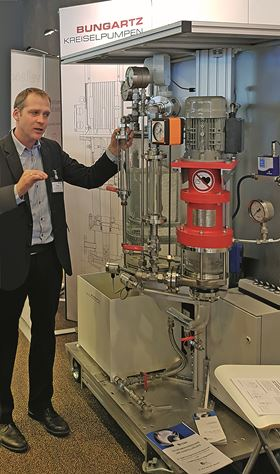 Head of sales at Bungartz, Sadko Meusel, explains the pump principle of the safe to run dry magnet-coupled vertical pump MPCV-AN.