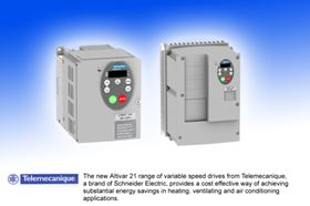 Figure 1. Altivar 21 drives are available in three-phase versions with ratings from 0.75 kW to 75 kW, and can be supplied as IP20 units for mounting within control panels, or as IP54 models that require no additional enclosure.