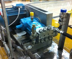 A Cat Pumps Model 6831 pump was selected for an enhanced duty pressure of 160 bar at the required flow rate of 105 L/min. and a water temperature up to 45°C.