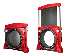 The Flowrox slurry knife gate valves for sizes from DN 900–DN 1500 do not use a cylinder tower.