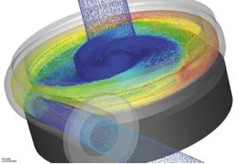 Figure 2. A view of internal flow patterns of Cornell's centrifugal pump, modelled with CFdesign and its Motion Module. This highlights the pressure of the liquid as well as the flow pattern.