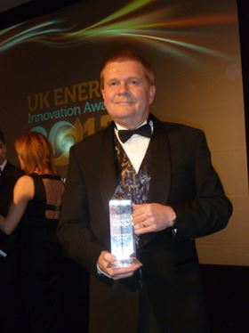 Eddie Hartley, Invertek's Production Manager, collected the Best International Trade Award at the UK Energy Innovations Awards 2013