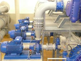 KSB Etanorm pumps operating as turbines in a water pumping station