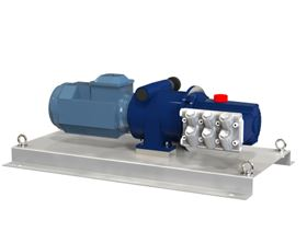 Hydra-Cell ATEX-approved Dosing Performance Pumps feature precise mechanical variator control and are mounted on a substantial stainless steel base plate.