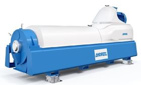 The new generation of decanters: the ANDRITZ decanter centrifuge from the DU series for efficient sludge dewatering.