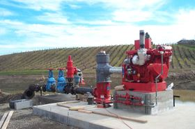 Groundwater Pump & Well provides irrigation and fire protection services for many of the vineyards in Sonoma such as this diesel fire pump at Ridge Winery.