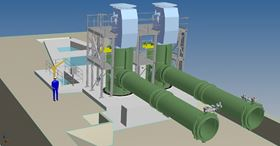 Installation of the CWP pump at Bouchain power plant. Initial design concept and completed project.