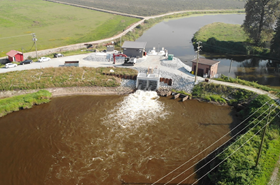 Aerial view of the Pitt Polder Pumping Station.