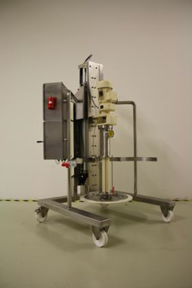 NETZSCH Dosing Technology's NBE 200 barrel emptying system, recently redesigned.
