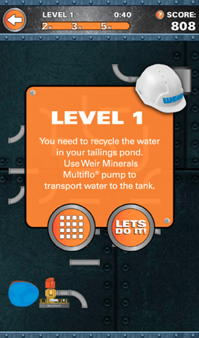 Screenshots of the dewatering game gameplay