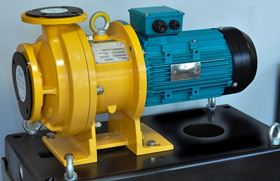 An ETN pump is a versatile and reliable magnetically driven centrifugal pump designed for lower duties seen here on a poly concrete base plate.