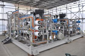 Ovivo fresh water maker package uses the reverse osmosis process to produce fresh water from seawater.