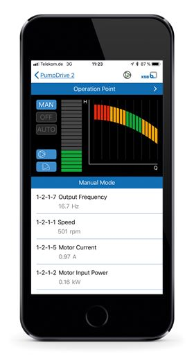The new KSB FlowManager app allows users to communicate with their pumps and operate and configure them. (© KSB SE & Co. KGaA, Frankenthal, Germany)