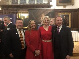 Left to right: Colin Simpson, business development director at Tomlinson Hall, Rona Fairhead, Baroness Fairhead CBE, Minister of State at the Department for International Trade, Claire Preston, CEO at Sound Training Manger and Bill Scott MBE, CEO at Wilton Engineering.
