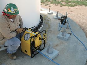 Enerpac's ZUTP-S Series tensioning pump in use.