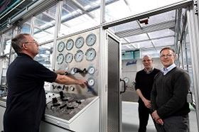 Left to right: Haskel's Ronnie Marshall, Mark Adams and Dave Angus at the new test cell room.