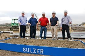 From left to right: Sulzer's Scott Fahey, Vice-President Americas, Rotating Equipment Services; Jim Mugford, President Electro-Mechanical and Pump Services, Americas; Darayus Pardivala, President Americas, Rotating Equipment Services; Daniel Bischofberger, President Rotating Equipment Services; Gary Benard, General Manager Electro-Mechanical Services, Americas.