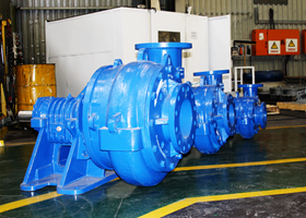Warman DWU pumps ready for dispatch.