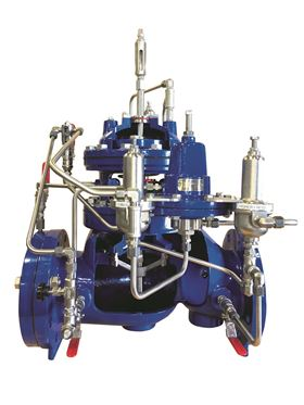 The valve is available in sizes 4-12 inches (DN100-DN300) with a minimum pressure at the valve inlet of 29 PSI (200kPa/2 barg).