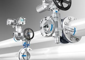 Automation of butterfly valves – on the left with direct mounted actuator, on the right with an actuator-gearbox combination.