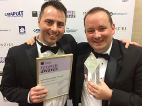 Dan Carr and Chris Wadsworth from Weir Minerals accept their awards at the EEF Future Manufacturing Awards ceremony.