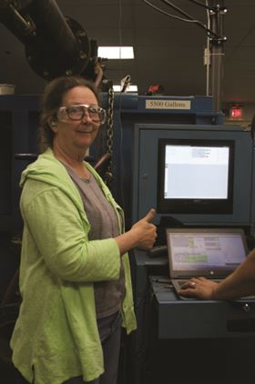 LeEllen Phelps, NSO Thermal Systems Manager, signals that the pumps passed all required factory-acceptance tests.
