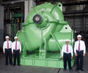 KBL's horizontal split case pump for circulating water duty in an Indian power plant