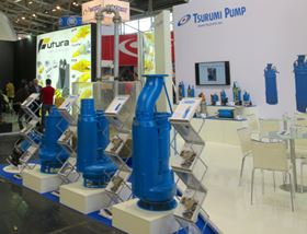 Tsurumi presented several products at Bauma, including the KRSU822 (shown at the front in the photo); a pump with a 56 mm clear passage for heavy media (photo: Tsurumi).