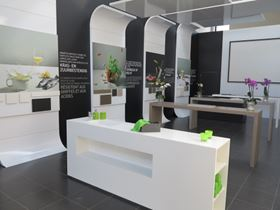 """Diresco Stone"" products in a Diresco showroom."