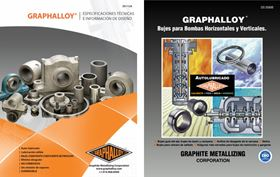 The Spanish technical guide and pump brochure provide Spanish-speaking engineers and distributors with information on the Graphalloy bearing material.