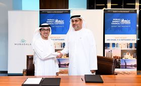 Musabbeh Al Kaabi (L) from the Mubadala Investment Company and Dr. Matar Al Neyadi (R), Chairman of the UAE Organising Committee for the 24th World Energy Congress.