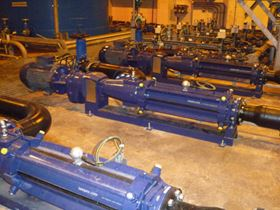 SCT pumps on centrifuge feed.