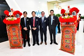 At the opening of Xylem's expanded regional headquarters in Singapore (left to right)  Lim Tse Yong, director, Capital Goods, Singapore Economic Development Board (EDB); Peter Ng Joo Hee, chief executive, PUB; Patrick Decker, president and CEO, Xylem Inc; and Prof Reginald Tan, executive director, Science Engineering Research Council, A*STAR. Photo courtesy of Xylem Inc.