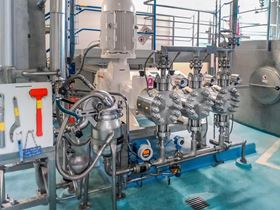 The type G3F triplex process diaphragm pump features completely safe start-up and fulfills the stringent hygienic provisions of the food industry. (DSM Nutritional Products GmbH)