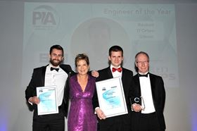Left to right: finalist Cameron Gaunt, presenter Penny Smith, winner Reuben d'Orten-Gibson and editor of World Pumps, Alan Burrows.