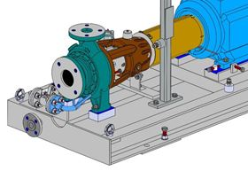 3D CAD model of an Amarinth titanium pump being designed for VWS Westgarth to be installed aboard an FPSO vessel.