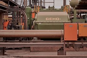The GEHO pumps transport the slurry at about 250 cubes an hour, 300 tons an hour, all day, every day .