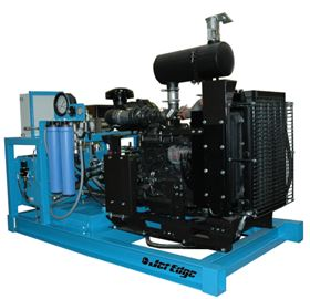 Jet Edge's diesel-powered water jet intensifier pump for mobile cold cutting applications.