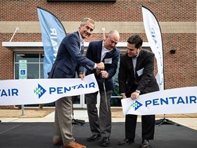 Pentair president and CEO John Stauch, Steve Risner, senior director of technology, and Phil Rolchigo, CTO, cut the ribbon at the opening of Pentair's new innovation centre in Apex, North Carolina (Photo: Pentair).