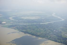 Irrawaddy river and Ava or Inva, middle city of Myanmar view aerial. (Image: Nolomo/Shutterstock)