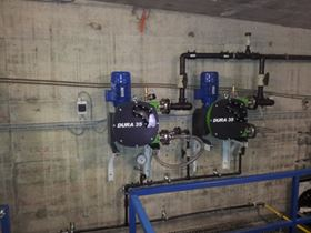 Water softening for potable water with peristaltic hose pump.
